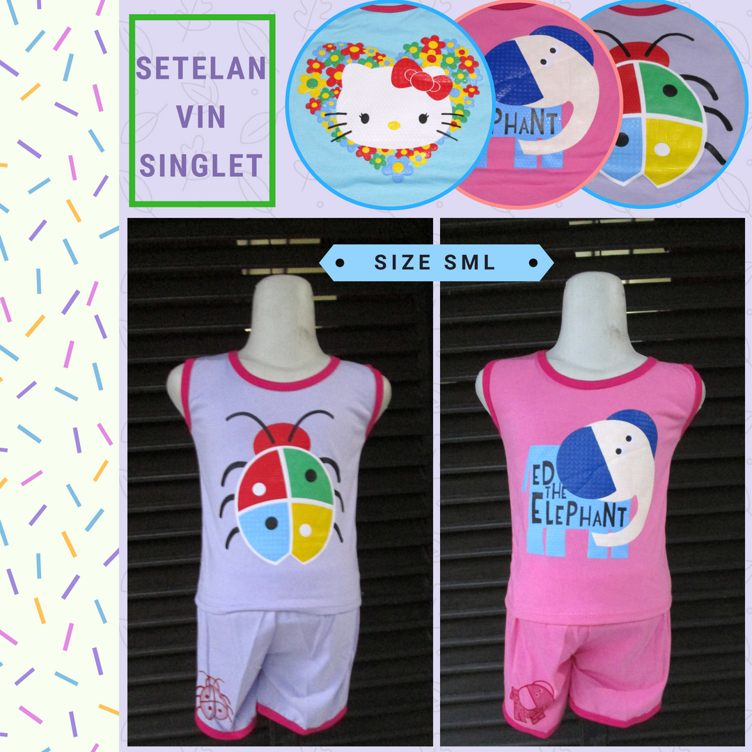 Supplier Set Vin Singlet Anak Karakter Murah