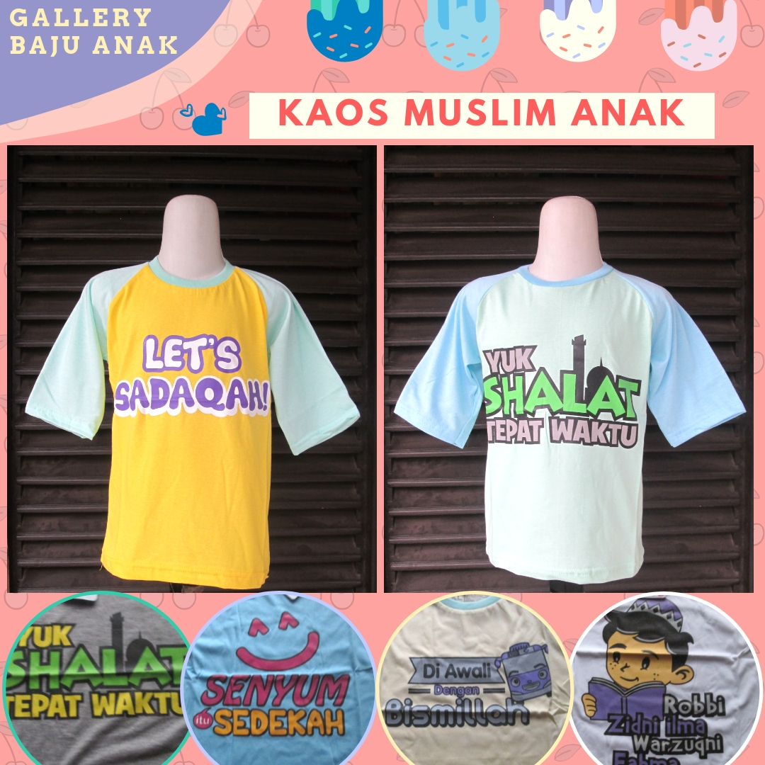 Supplier Kaos Muslim Anak karakter Termurah