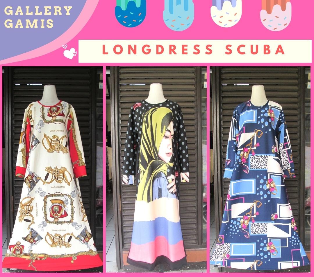 Supplier Longdress Scuba Printing Terbaru Murah di Bandung