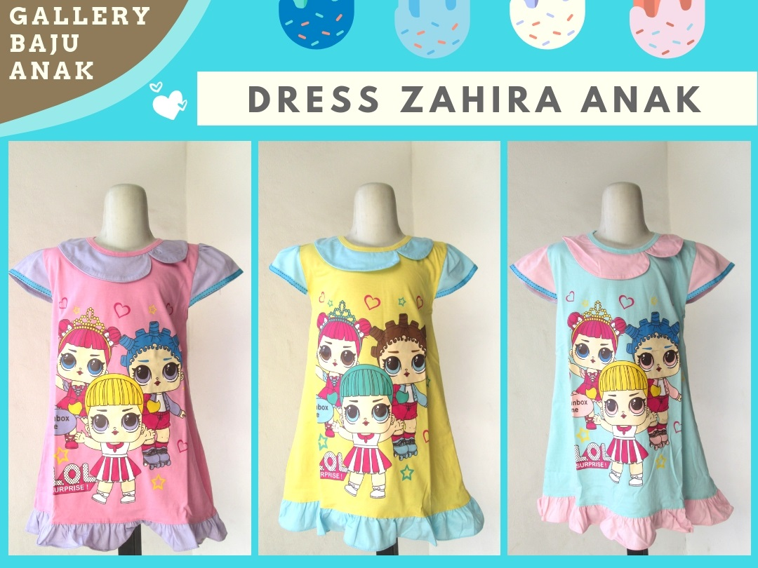 Supplier Dress Zahira Anak Perempuan Murah di Bandung