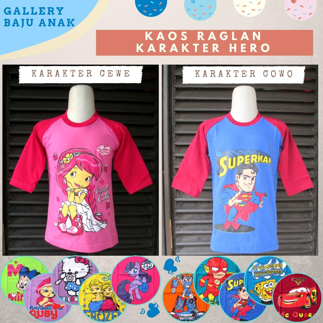 Distributor Kaos Raglan Hero Anak Karakter Murah di Bandung Rp.19.500