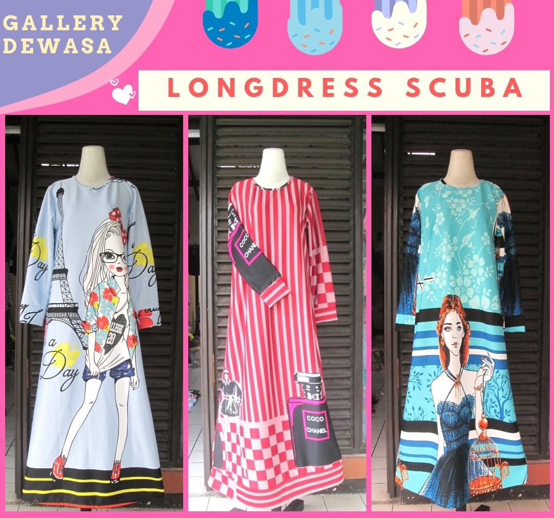 Distributor Long Dress Scuba Dewasa Murah di Bandung 88Ribuan