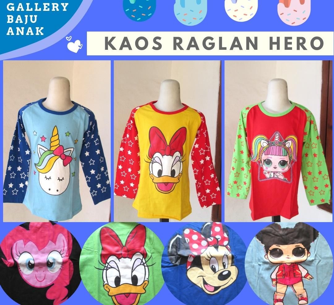 Distributor Kaos Raglan Hero Anak Karakter Perempuan Murah di Bandung Rp.19.500
