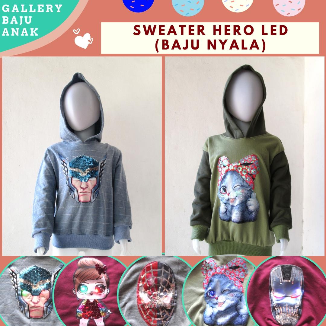 Konveksi Sweater LED Hero Anak Karakter Bisa Menyala Murah di Bandung Hanya 30RIBUAN