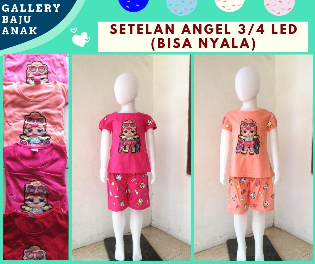 Reseller Setelan Angel 3/4 LED Anak Perempuan Murah di Bandung Mulai Rp.31.000